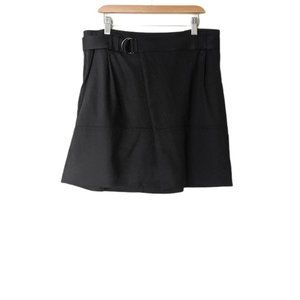 Vince Small size 6 Black Belted Foldover Twill Mini Skirt
